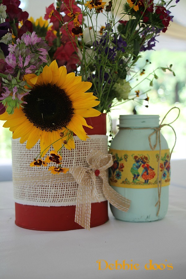 can and jar painted for garden wedding