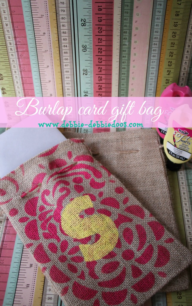 diy burlap card gift bag stenciled