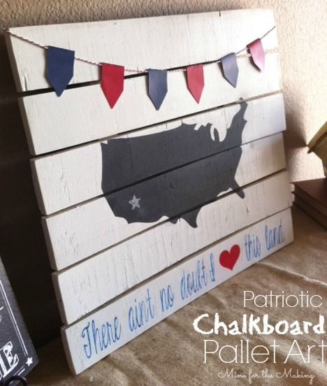 pallet with US chalkboard