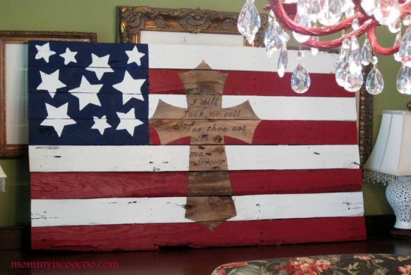 patriotic flag with cross