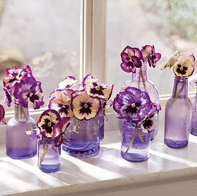 purple-pansy-centerpieces-vintage-bottles
