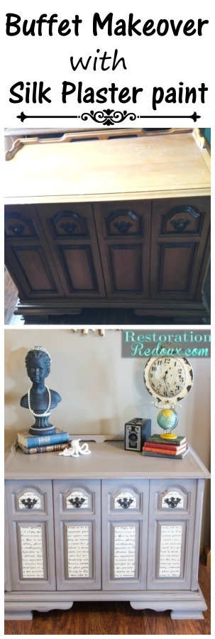 Buffet makeover with silk plaster paint