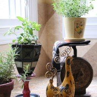 Light sconce turned herb pot