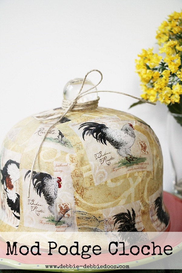 mop podge cloche with fun fabric