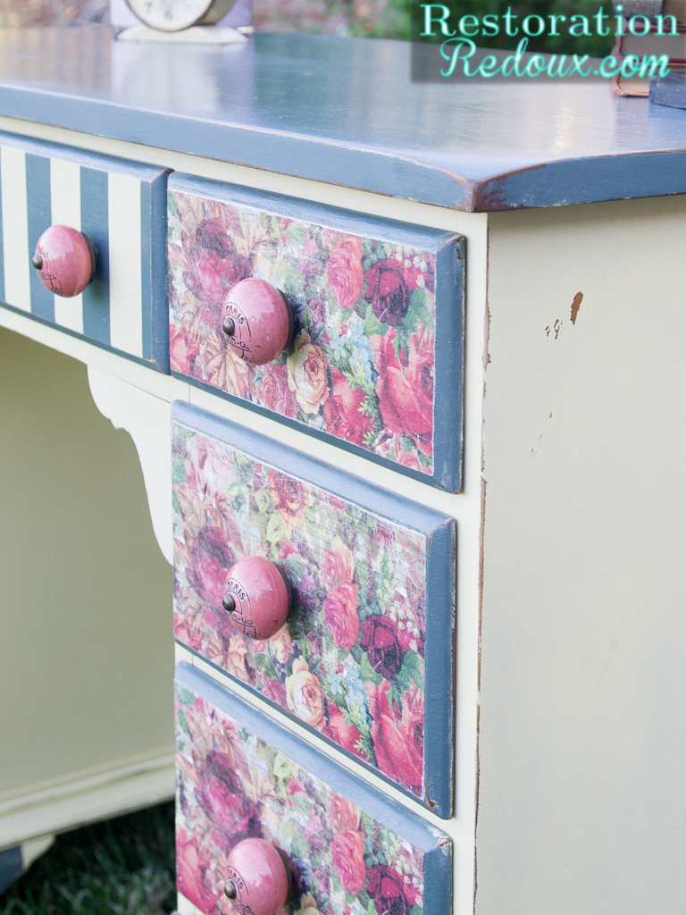 Decoupaged-Striped-Desk