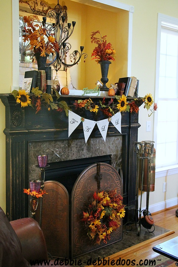 Fall sunflower mantel in family room
