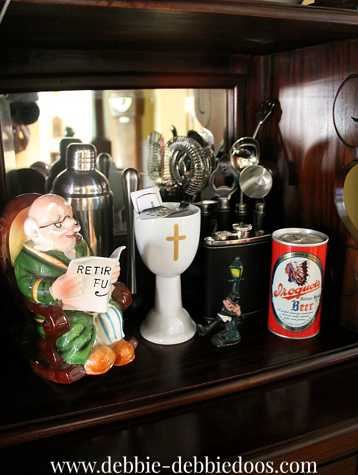 Vintage barware and piggy bank