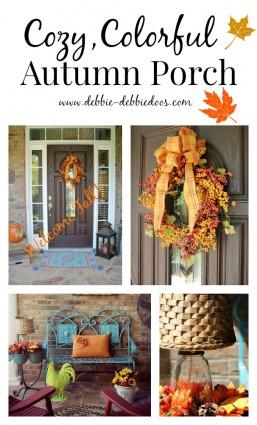 cozy colorful autumn porch