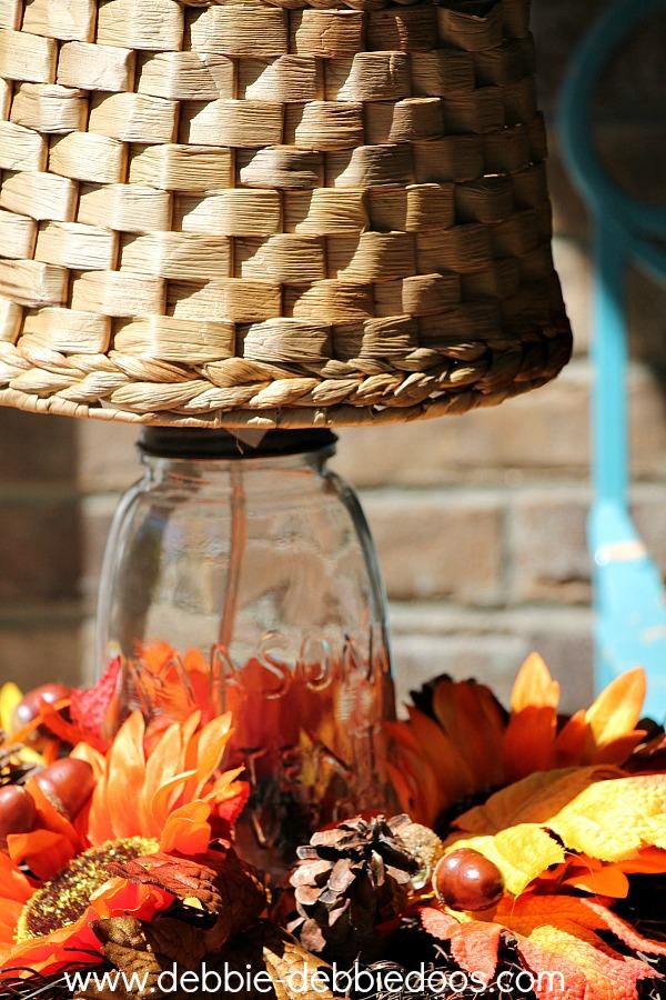 mason jar light on porch
