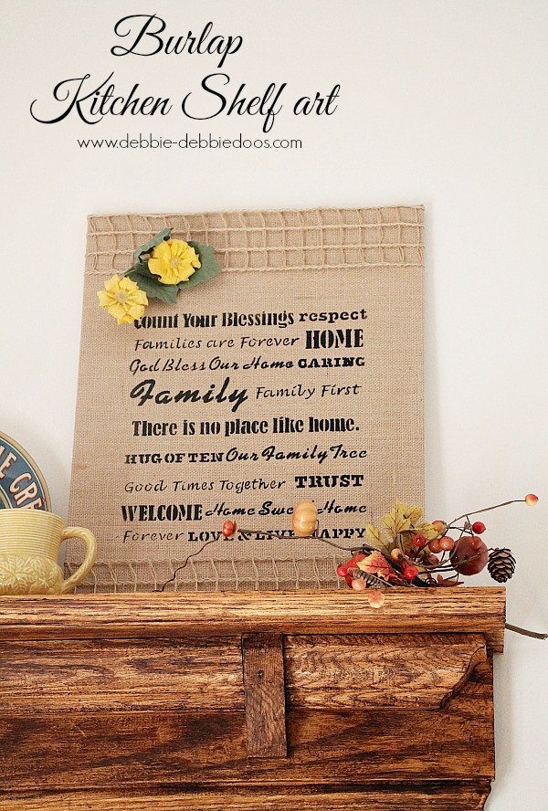 Burlap kitchen shelf art