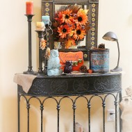 Creating a fall vignette on a side table