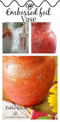 Embossed foil vase