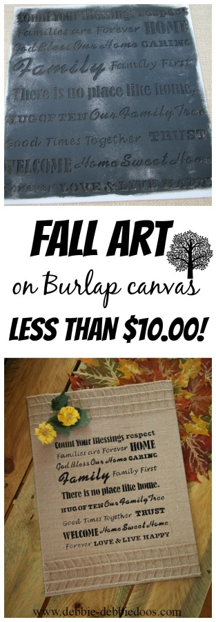 Fall art on burlap canvas