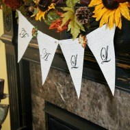 Sunflower Fall mantel and diy banner