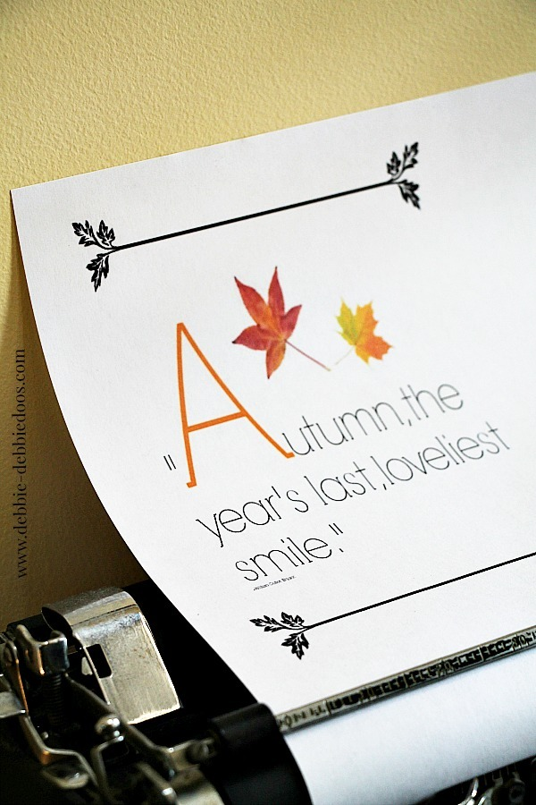 Fall printable in typewriter