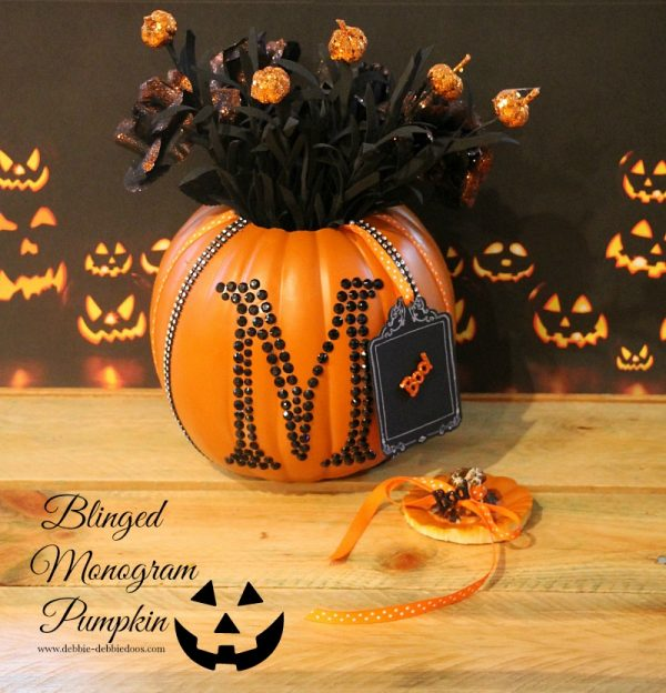 Monogrammed blinged pumpkin
