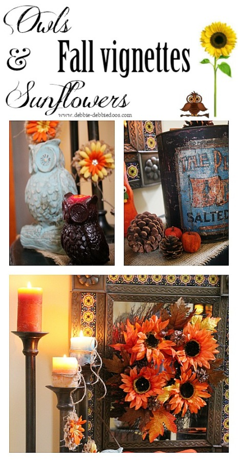 Owls and sunflowers fall vignettes