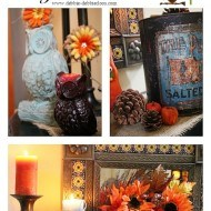 Owls and sunflower side table vignette