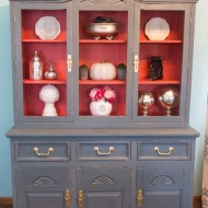 China hutch makeover with plaster paint