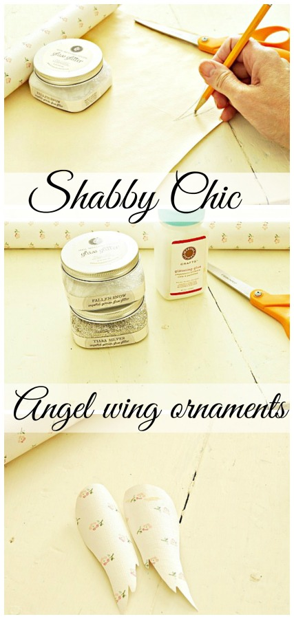 Shabby chic angel wing ornaments