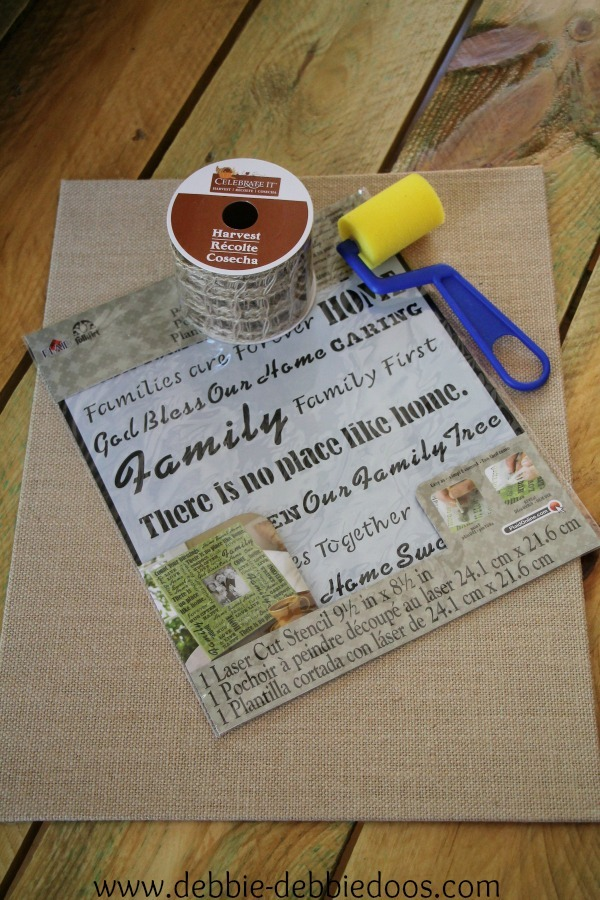 burlap kitchen art stenciled 001
