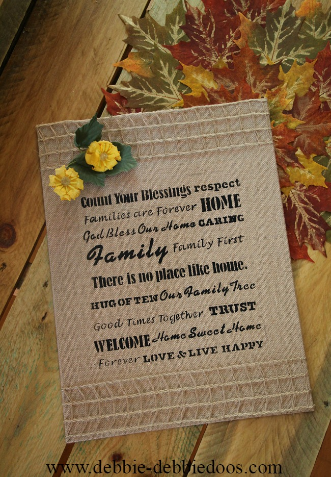 burlap kitchen art stenciled