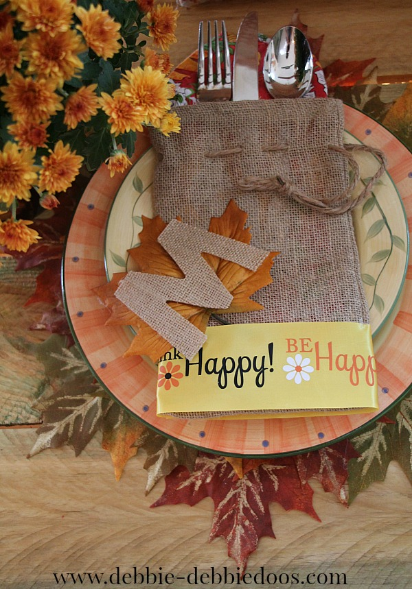 Burlap personalized table place setting