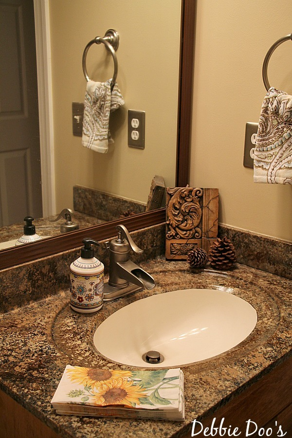 Bathroom counters painted with Giani granite paint