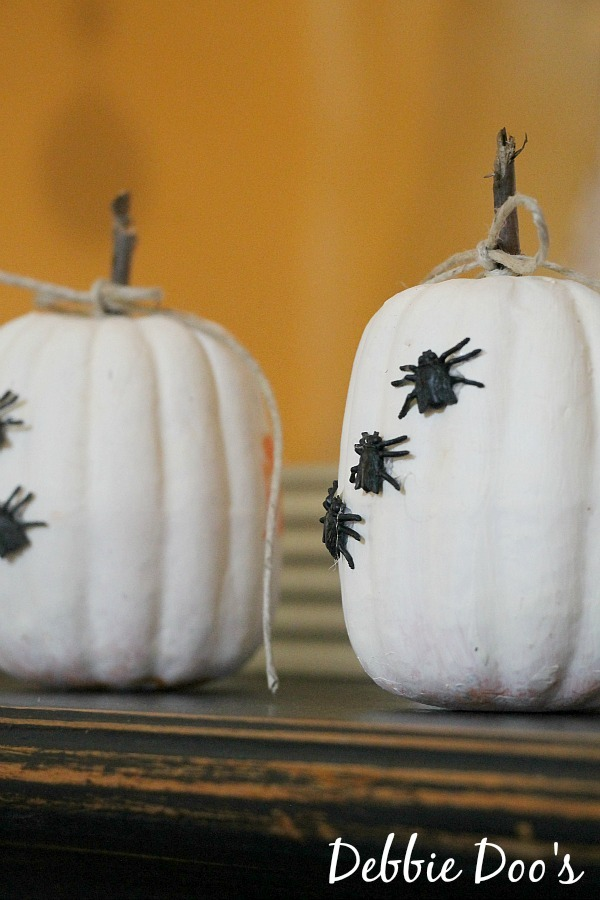 Dollar tree pumpkins on mantel