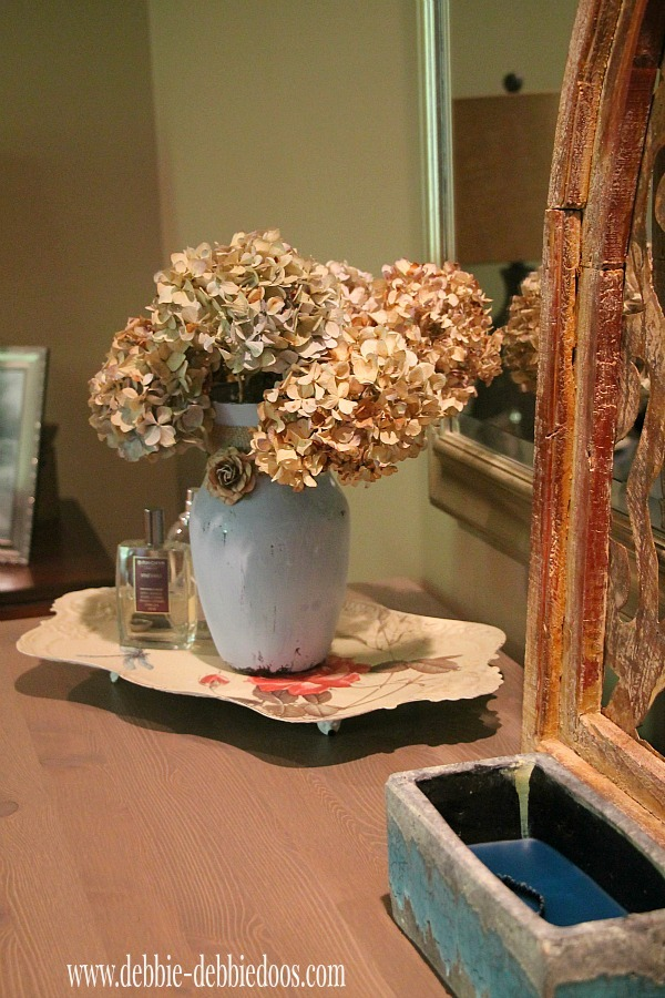 Painted vase with chalk paint and dried hyrdrangeas