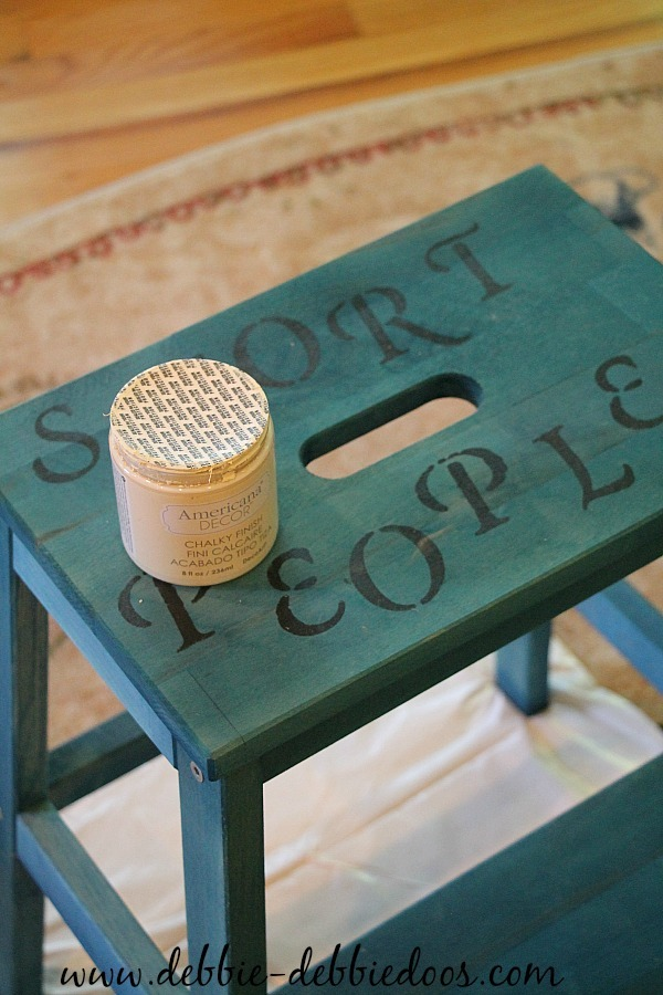 Painting a step stool with chalky paint my americana decor