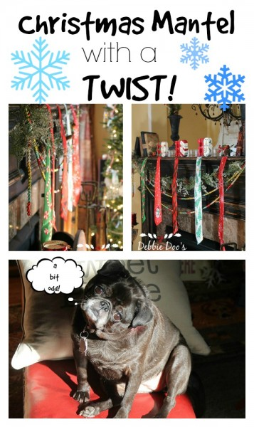 Christmas mantel with a twist and tie dollar tree decorating idea