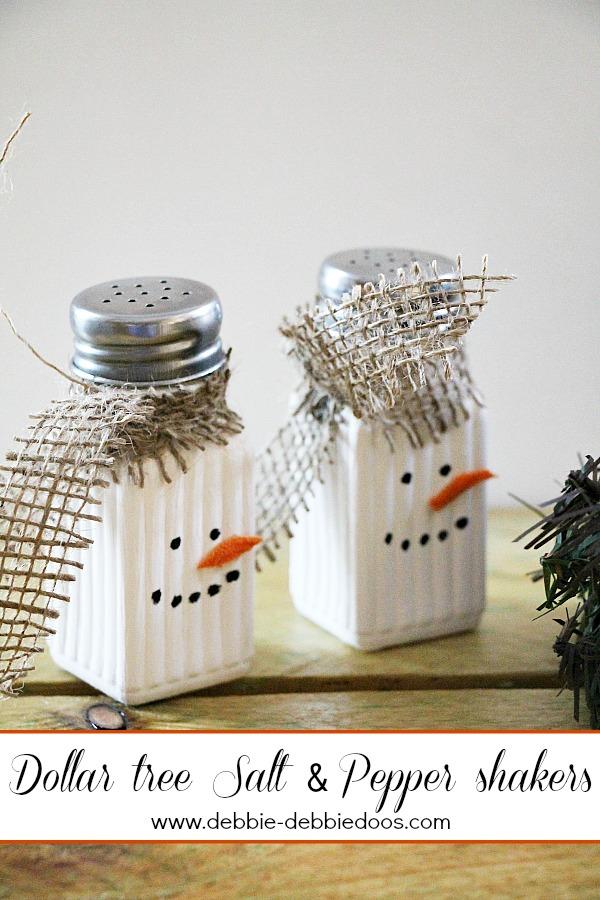 Easy diy snowman salt and pepper shakers