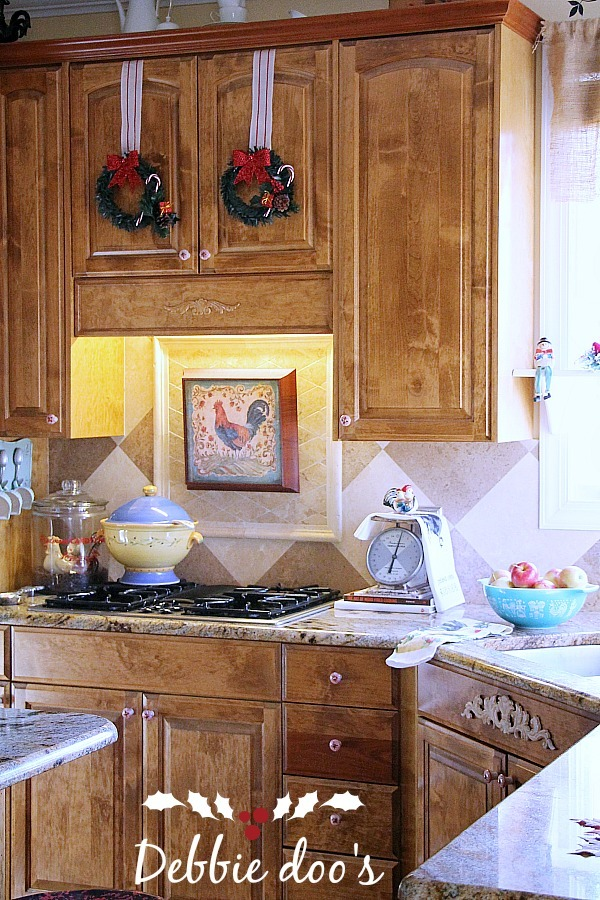 Dollar tree decor in the kitchen for Christmas decorating ideas