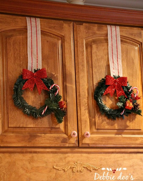 Dollar tree wreath decor for the cabinets