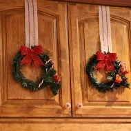 Dollar store Christmas wreaths in the kitchen