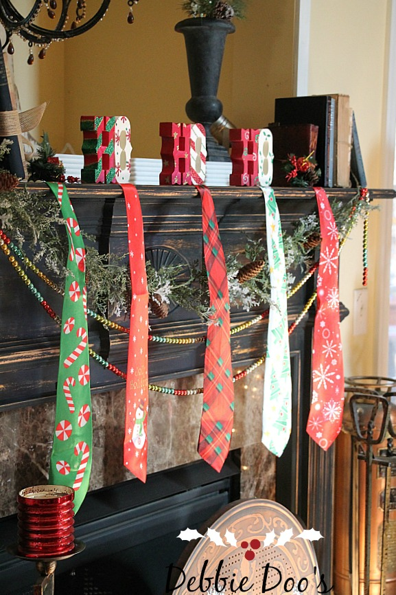 Garland beads from HomeGoods and mantel decorating ideas