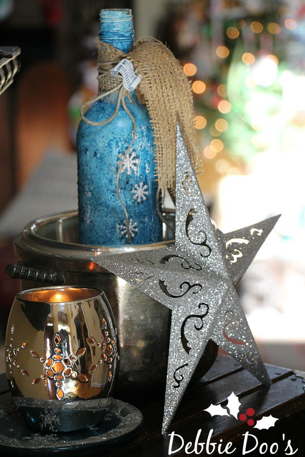 Recycled wine bottle craft idea for winter