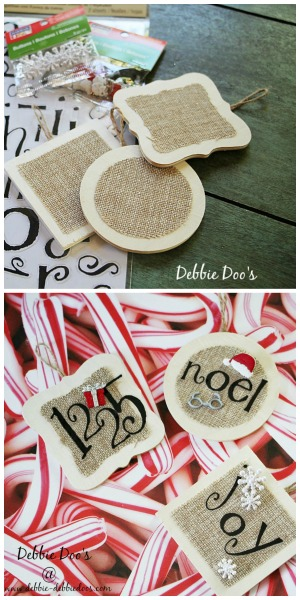 Handmade christmas ornaments debbiedoos today i am sharing a handmade christmas ornament idea while skipping through michaels i spied these cute little wooden and burlap ornaments for a dollar solutioingenieria Gallery