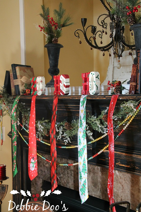 necktie mantel Christmas decor from the dollar tree