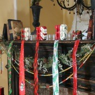 Christmas mantel with a twist and tie