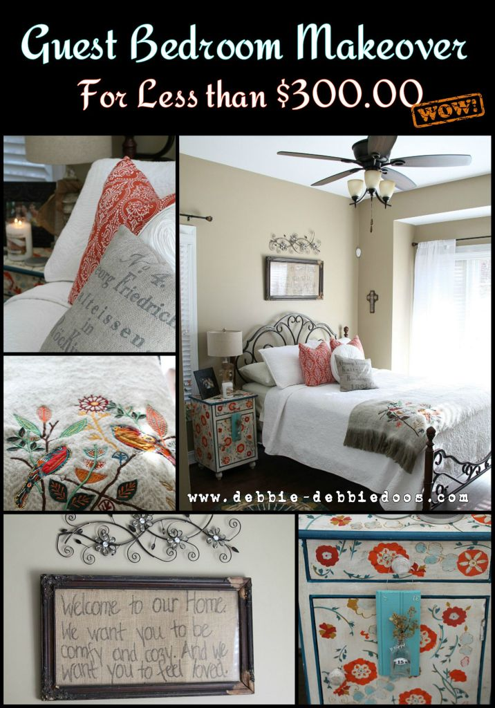 Guest bedroom makeover for $300.00 including bed frame.