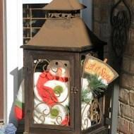 Whimsical snowman porch