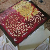 Stenciling-a-step-stool