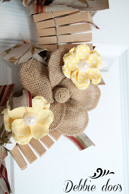 Clothes pin rag wreath
