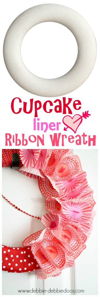 Cupcake liner ribbon wreath with dollar tree