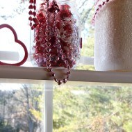 Styling the kitchen shelving with Valentine decor