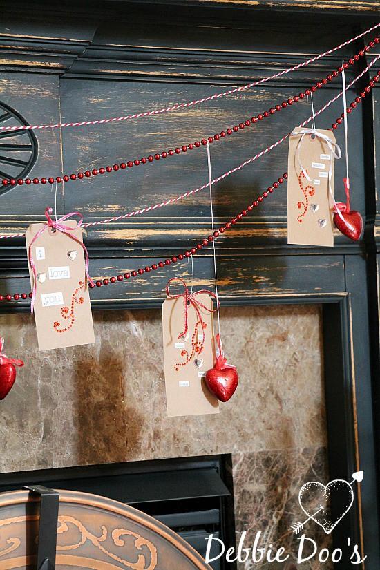 Valentine mantel decor 2015