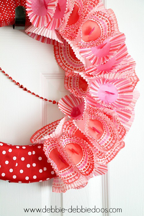 cupcake liner wreath for Valentine's day