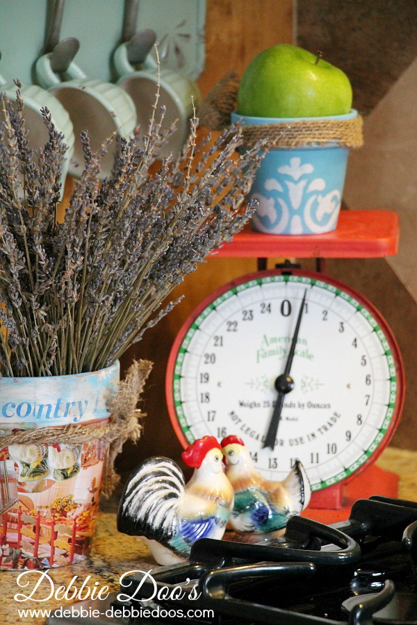 Country french kitchen decor and vignettes